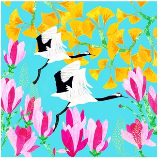 Gingko International Giclee Print - Red Crowned Crane, Magnolia &