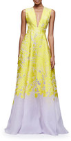 Lela Rose Sleeveless Open-Back Two-Tone Gown, Citrine/Lilac