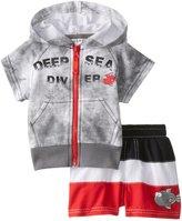 Wippette Baby Boys Newborn Big Fish Diver Rashguard Coverup Swim Trunk Set