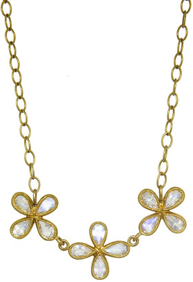 Cathy Waterman Triple Moonstone Star Necklace - Yellow Gold