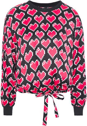Love Moschino Bow-detailed Printed Satin Blouse