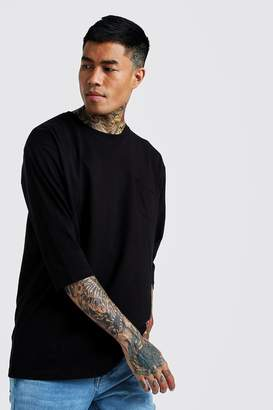 BoohoomanBoohooMAN Mens Black Basic Loose 3/4 Sleeve Pocket T-Shirt, Black