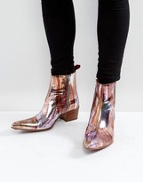 Jeffery West Sylvian Meltallic Zip Boots In Pink