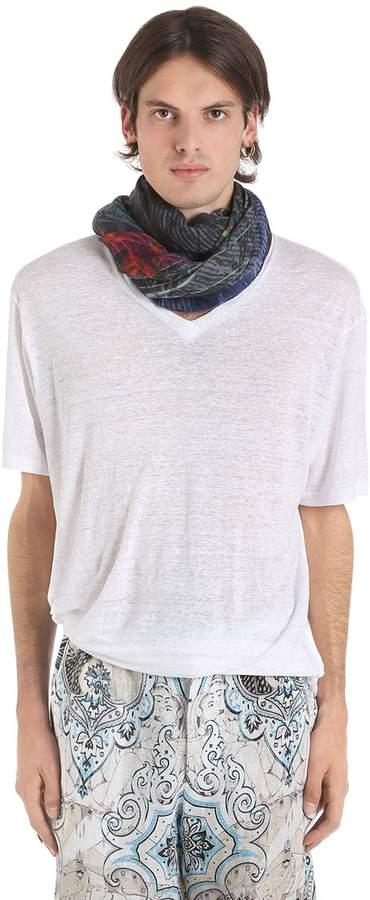 Etro Loose Fit V Neck Linen T-Shirt