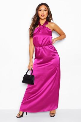 boohoo Petite Satin Halterneck Maxi Dress