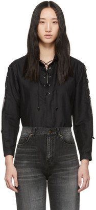Saint Laurent Black Voile Lace-Up Blouse