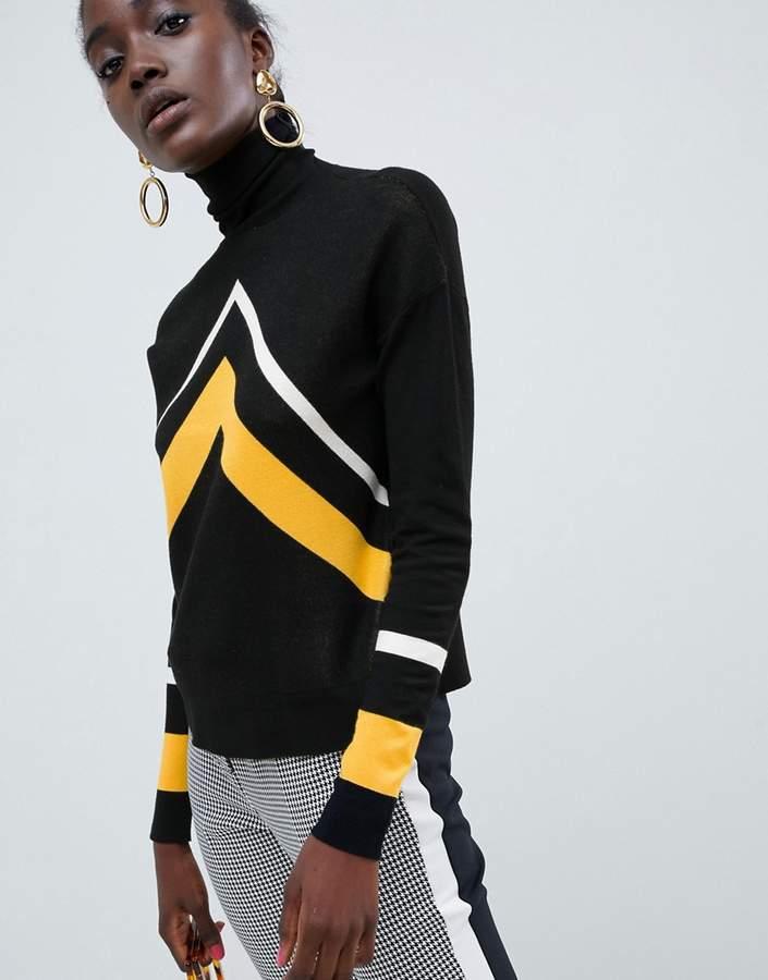 Asos Design DESIGN high neck sweater with chevron pattern