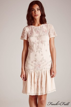 Frock and Frill Peach Embellished Skater Dress