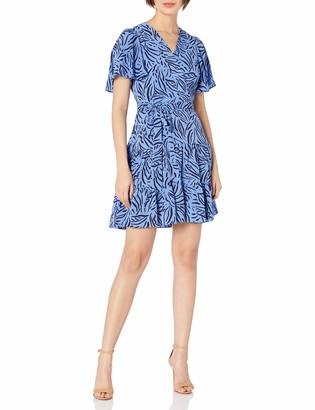Eliza J Women's Petite V Neck Flutter Sleeve FIT and Flare Dress