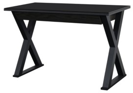"Walker Edison Home Office 48"" Glass Metal Computer Desk - Black"