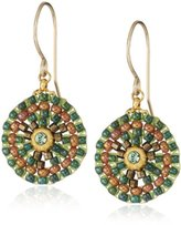 Miguel Ases Small Green Round Drop Earrings