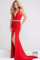 Jovani V Neck Fitted Jersey Dress with Beaded Waistline JVN37117