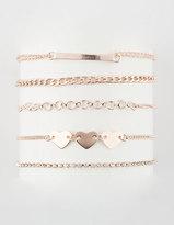 Full Tilt 5 Pack Heart & Gold Bar Bracelets
