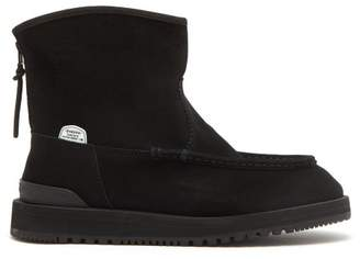 Suicoke Russ Mwpab Shearling Lined Suede Boots - Mens - Black