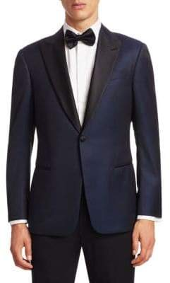 Emporio Armani Navy Tonal Dot G Line Dinner Jacket