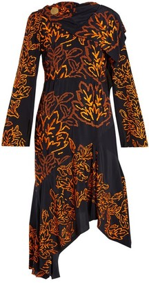 Peter Pilotto Floral-embroidered Silk-crepe Dress - Navy Multi