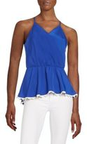 Collective Concepts Lace-Trimmed Satin Peplum Top