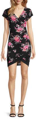Almost Famous Juniors Short Sleeve Floral Wrap Dress