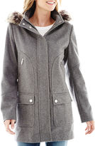 JCPenney A.N.A a.n.a Faux-Fur Trim Hood Wool-Blend Coat