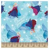 Disney Frozen Sisters Skating Blue Satin Fabric