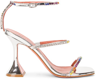Amina Muaddi Gilda Rainbow Mirror Sandal in Silver | FWRD