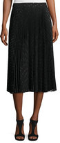 Haute Hippie Sunburst Flare Metallic Polka-Dot Midi Skirt, Black