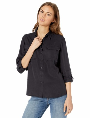 The Drop Women's Erin Long-Sleeve Loose-Fit Utility Pocket Shirt