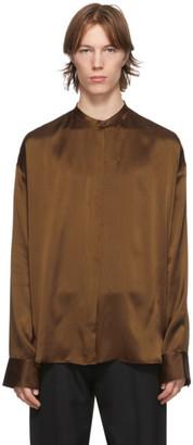Haider Ackermann Brown Silk Oversized Dali Shirt