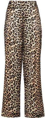 Ganni leopard print wide-leg trousers