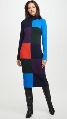 Tory Sport Viscose Blend Ribbed Block Dress