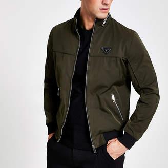 River Island Dark green MCMLX zip front racer jacket