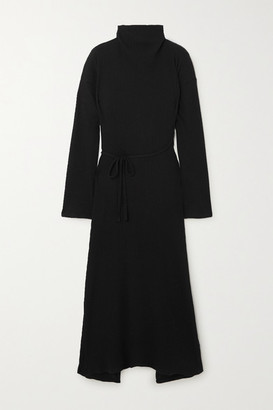 Base Range Net Sustain Wayn Wrap-effect Ribbed Organic Cotton-fleece Dress - Black