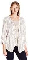 Alfred Dunner Women's Stripe 3fer Knit with Necklace Sweater