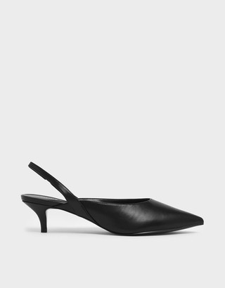 Charles & Keith Pointed Toe Slingback Kitten Heels