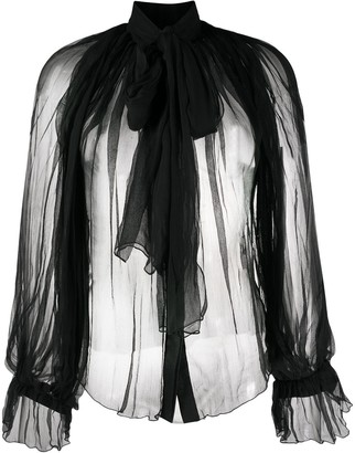 Atu Body Couture Pussy-Bow Tulle Blouse
