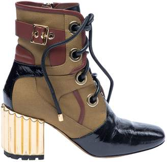 Christian Dior Khaki Cloth Ankle boots