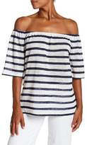 BCBGeneration Striped Off-the-Shoulder Trapeze Tee