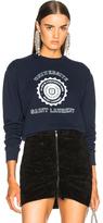 Saint Laurent Crewneck University Sweatshirt in Blue.