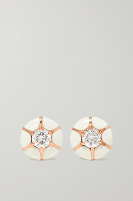 Selim Mouzannar Sea Flowers 18-karat Rose Gold, Enamel And Diamond Earrings