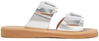 Ancient Greek Sandals Iaso Buckled Metallic Leather Slides