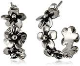 "Zina Sterling Silver ""Hibiscus Collection"" Hibiscus Hoop Earrings"