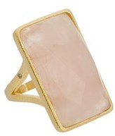 Rivka Friedman 18k Clad Rose Quartz Rectangle Ring.