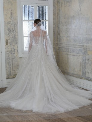 GEORGES HOBEIKA Long Embroidered Tulle Veil
