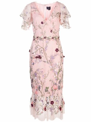 Marchesa Notte V-Neck 3D Floral Embroidered Tulle Cocktail Dress