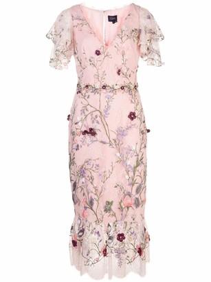Marchesa Notte V-Neck 3D Floral Embroidered Tulle Cocktail Dress