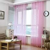 WPKIRA Window Treatment Kids Room Decor Little Star Sheer Curtains Natural Light Flow Voile Sheer Curtain Panels for Bedroom1Panel W54 x L96 inch Pink