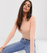 Asos Tall DESIGN Tall long sleeve high neck body in washed orange