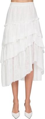 Ermanno Scervino Garza Ruffled Cotton Midi Skirt