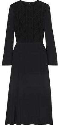 Valentino Corded Lace-paneled Silk-blend Cady Midi Dress