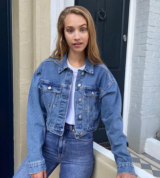 ASOS DESIGN Tall denim shrunken trucker jacket in blue